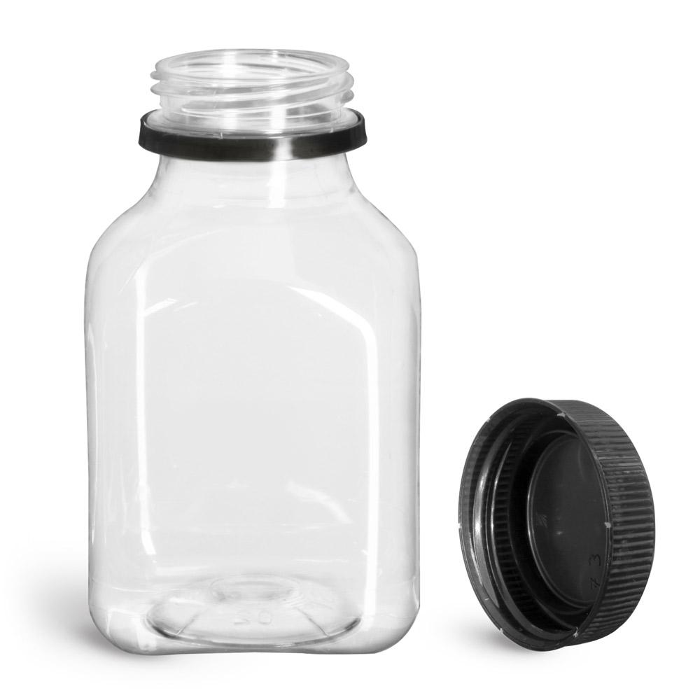 8 oz Plastic Bottles, Clear PET Square Beverage Bottles w/ Black Polypro Tamper Evident Polypro Caps