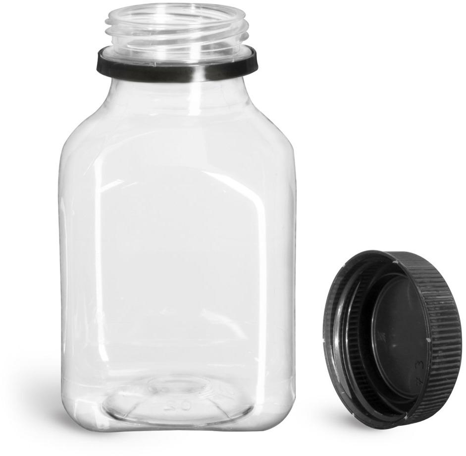Plastic Bottles, Clear PET Square Beverage Bottles w/ Black Polypro Tamper Evident Polypro Caps