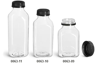 Plastic Bottles, Clear PET Square Beverage Bottles w/ Black Polypro Tamper Evident Caps