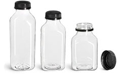 PET Plastic Bottles, Clear Square Beverage Bottles w/ Black Polypro Tamper Evident Caps