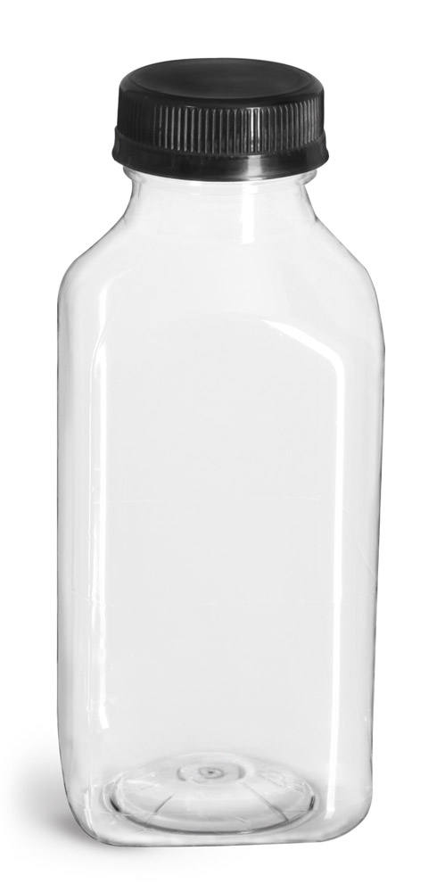 12 oz Plastic Bottles, Clear PET Square Beverage Bottles w/ Black Polypro Tamper Evident Polypro Caps