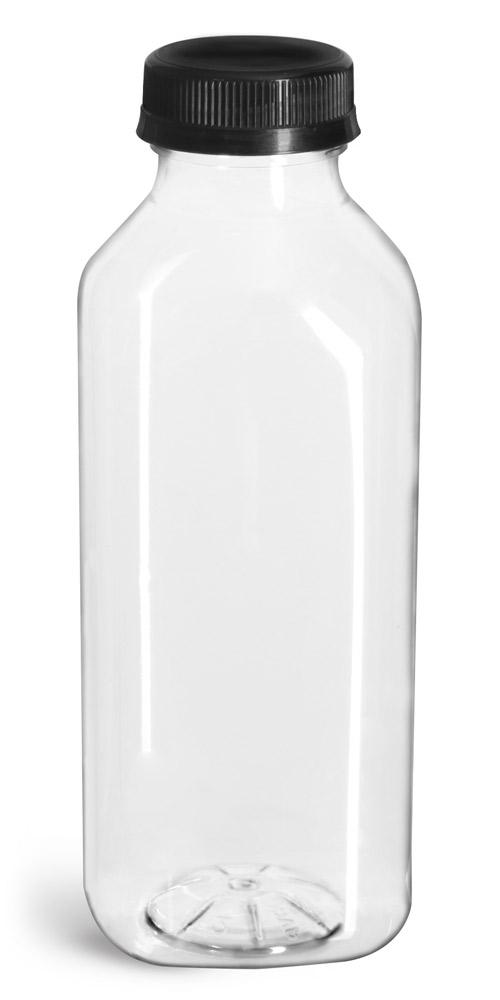 16 oz Plastic Bottles, Clear PET Square Beverage Bottles w/ Black Polypro Tamper Evident Polypro Caps