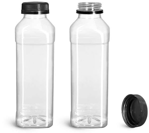 PET Plastic Bottles, Clear Beverage Bottles w/ Black Polypro Tamper Evident Caps
