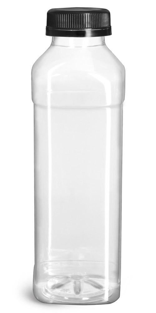 16 oz Plastic Bottles, Clear PET Beverage Bottles w/ Black Polypro Tamper Evident Caps
