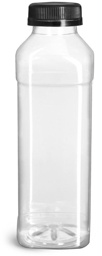Plastic Bottles, Clear PET Beverage Bottles w/ Black Polypro Tamper Evident Caps
