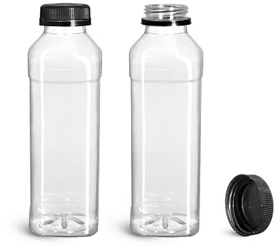 Plastic Bottles, 16 oz Clear PET Beverage Bottles w/ Black Polypro Tamper Evident Caps