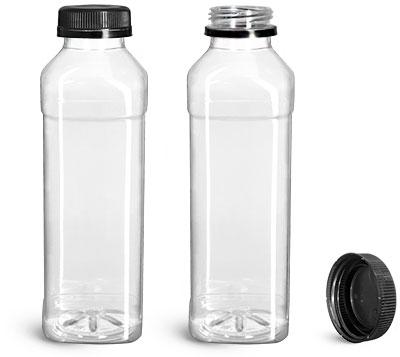 Plastic Bottles, 16 oz Clear PET Beverage Bottles w/ Black Polypro Tamper Evident Caps