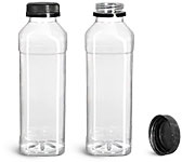 Clear PET Beverage Bottles w/ Black Polypro Tamper Evident Caps
