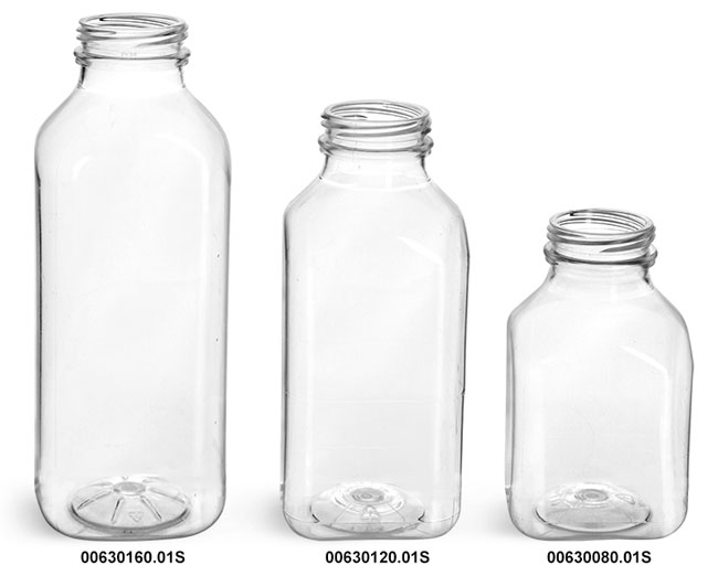 Plastic Bottles, Clear PET Square Beverage Bottles