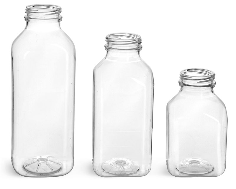 Clear PET Square Beverage Bottles