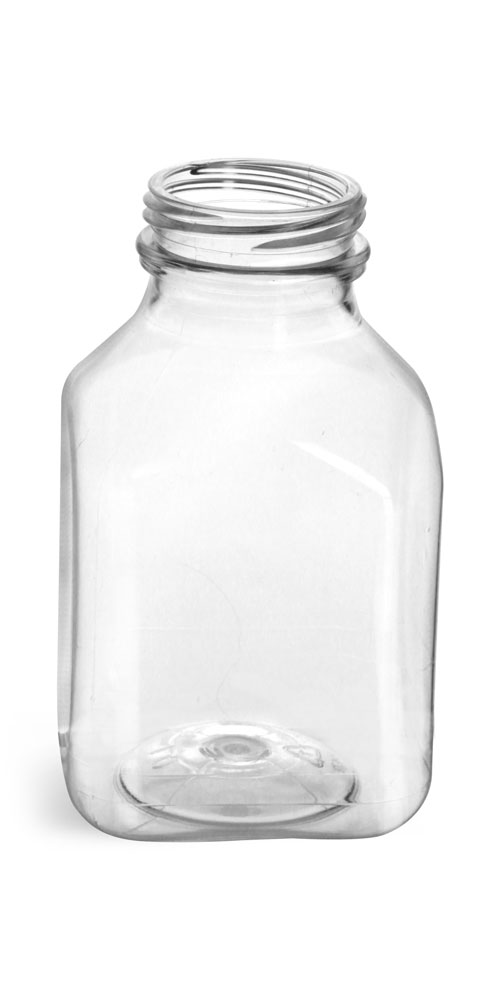 8 oz Plastic Bottles, Clear PET Square Beverage Bottles