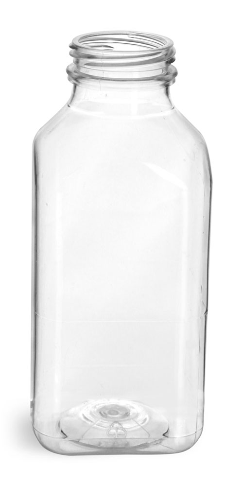 12 oz Plastic Bottles, Clear PET Square Beverage Bottles