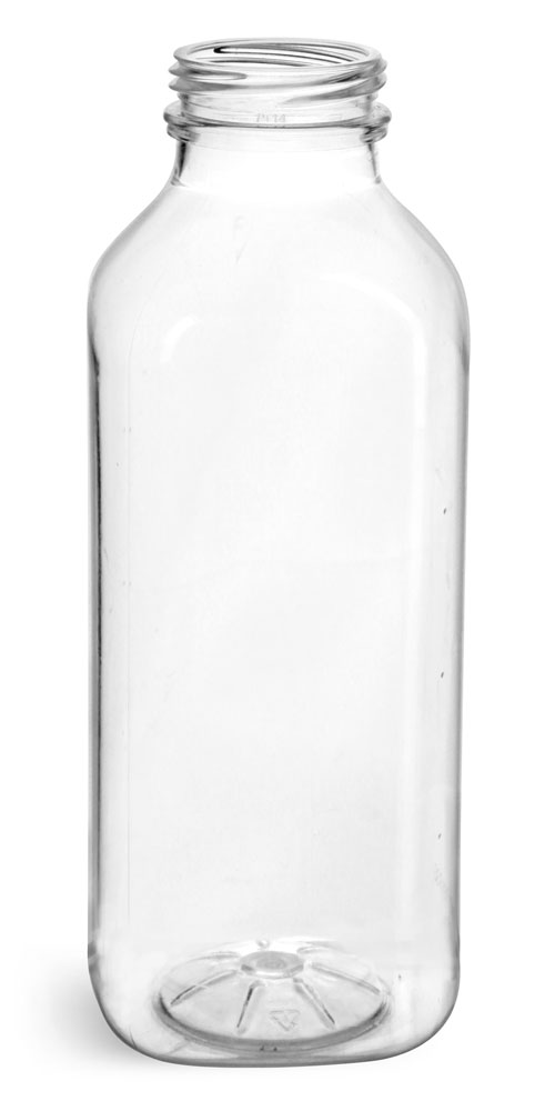 16 oz Clear PET Square Beverage Bottles