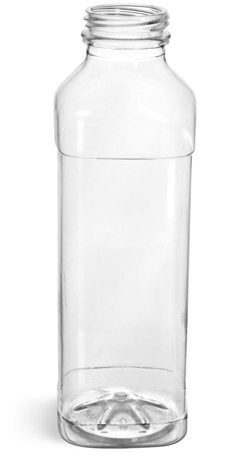 16 oz Plastic Bottles, Clear PET Square Beverage Bottles
