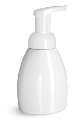 PET Plastic Bottles, White Foaming Pump Bottles w/ White Foamer Pumps