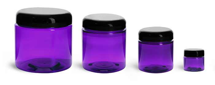 PET Plastic Jars, Purple Straight Sided Jars w/ Black Smooth Lined Dome Caps