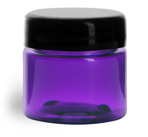 1/2 oz Plastic Jars, Purple PET Straight Sided Jars w/ Black Smooth Lined Dome Caps