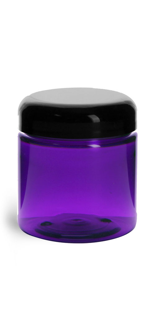 4 oz Plastic Jars, Purple PET Straight Sided Jars w/ Black Smooth Lined Dome Caps