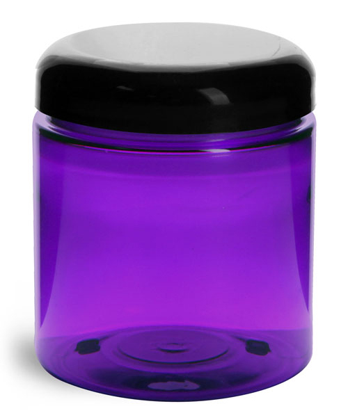 Plastic Jars, Purple PET Straight Sided Jars w/ Black Smooth Lined Dome Caps