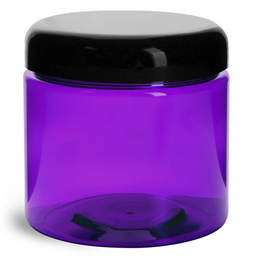 16 oz Plastic Jars, Purple PET Straight Sided Jars w/ Black Smooth Lined Dome Caps