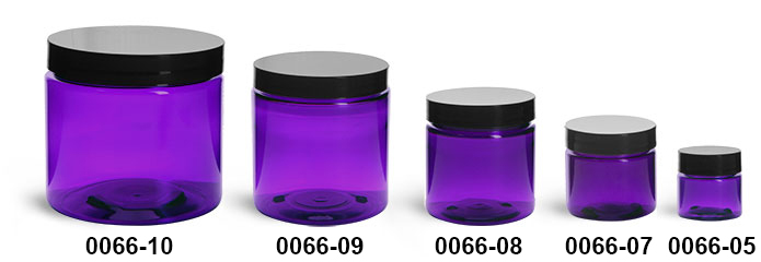 Plastic Jars, Purple PET Straight Sided Jars w/ Black Smooth Lined Cap