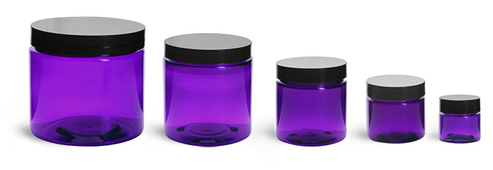 PET Plastic Jars, Purple Straight Sided Jars w/ Black Smooth Lined Cap