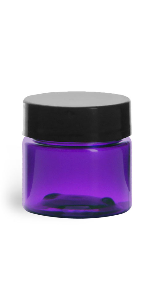 1/2 oz Plastic Jars, Purple PET Straight Sided Jars w/ Black Smooth Lined Cap