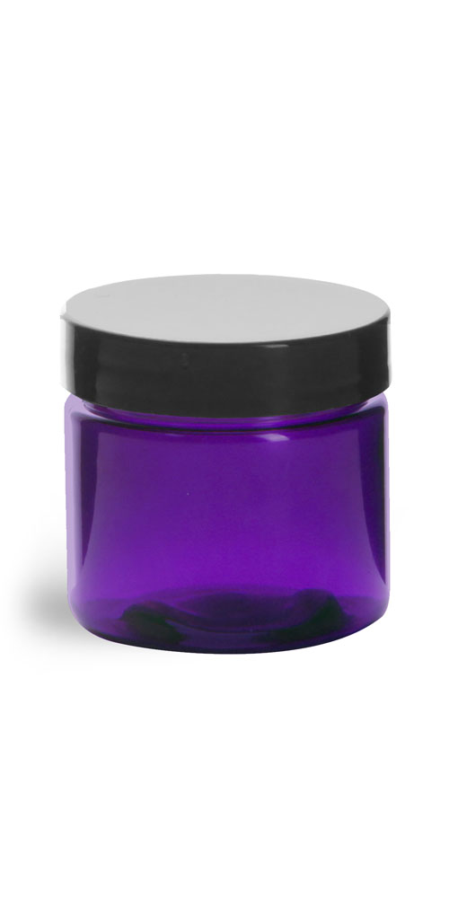 2 oz Plastic Jars, Purple PET Straight Sided Jars w/ Black Smooth Lined Cap