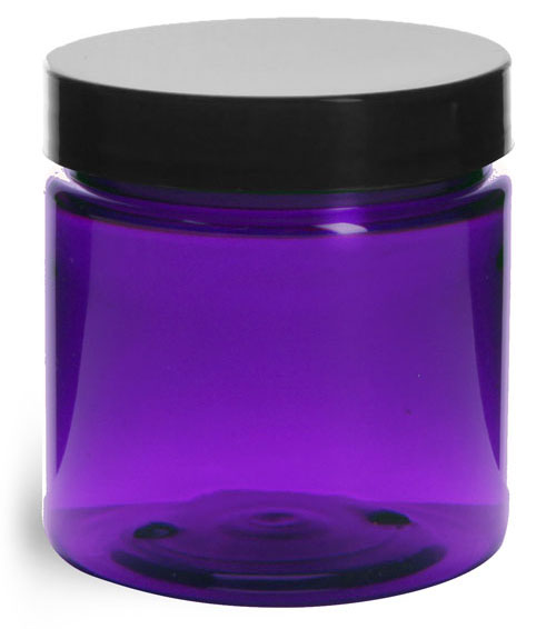 4 oz Plastic Jars, Purple PET Straight Sided Jars w/ Black Smooth Lined Cap
