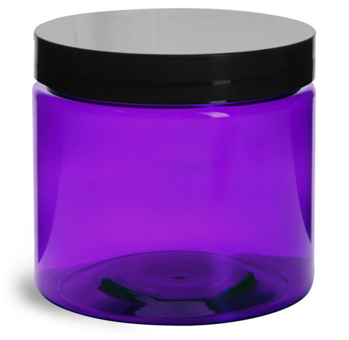 16 oz Plastic Jars, Purple PET Straight Sided Jars w/ Black Smooth Lined Cap