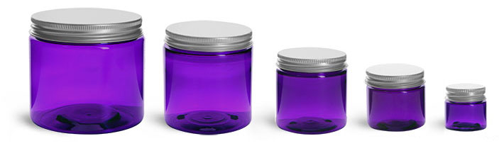 PET Plastic Jars, Purple Straight Sided Jars w/ Lined Aluminum Caps
