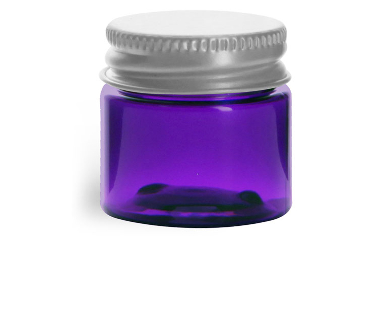 1/2 oz Plastic Jars, Purple PET Straight Sided Jars w/ Lined Aluminum Caps