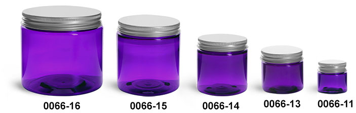 Plastic Jars, Purple PET Straight Sided Jars w/ Lined Aluminum Caps