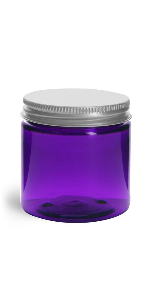 Plastic Jars, Purple PET Straight Sided Jars w/ Lined Aluminum Caps
