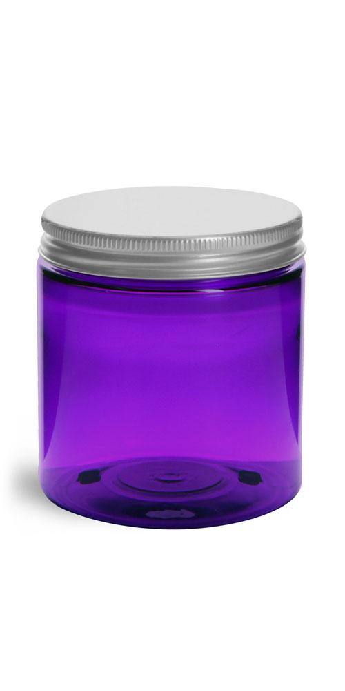 4 oz Plastic Jars, Purple PET Straight Sided Jars w/ Lined Aluminum Caps