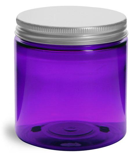8 oz Plastic Jars, Purple PET Straight Sided Jars w/ Lined Aluminum Caps