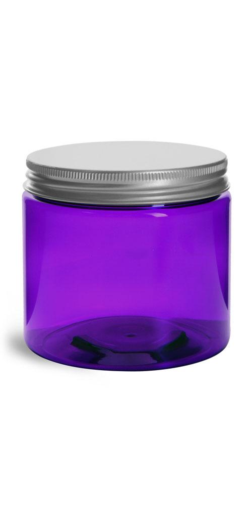 16 oz Plastic Jars, Purple PET Straight Sided Jars w/ Lined Aluminum Caps