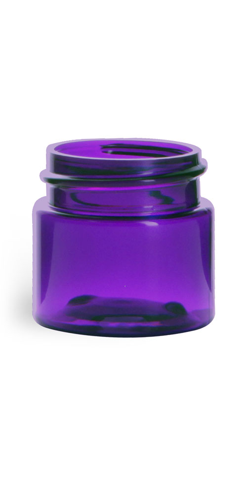 1/2 oz Plastic Jars, Purple PET Straight Sided Jars (BULK) Caps Not Included