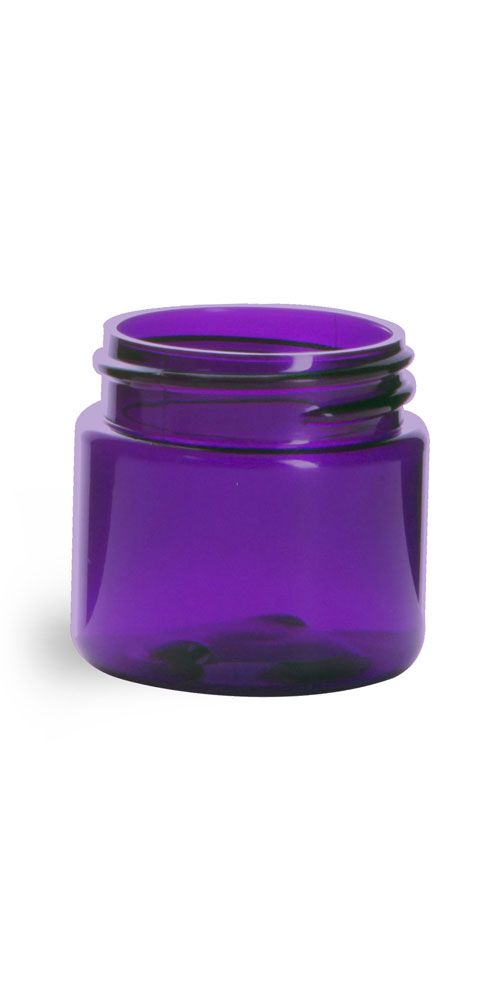 1 oz Plastic Jars, Purple PET Straight Sided Jars (BULK) Caps Not Included
