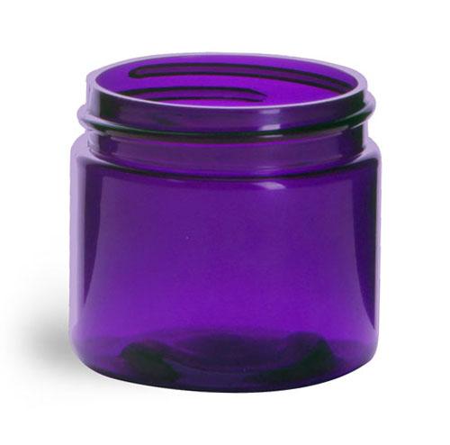 2 oz Plastic Jars, Purple PET Straight Sided Jars (BULK) Caps Not Included