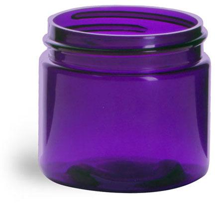 Plastic Jars, Purple PET Straight Sided Jars (BULK) Caps Not Included