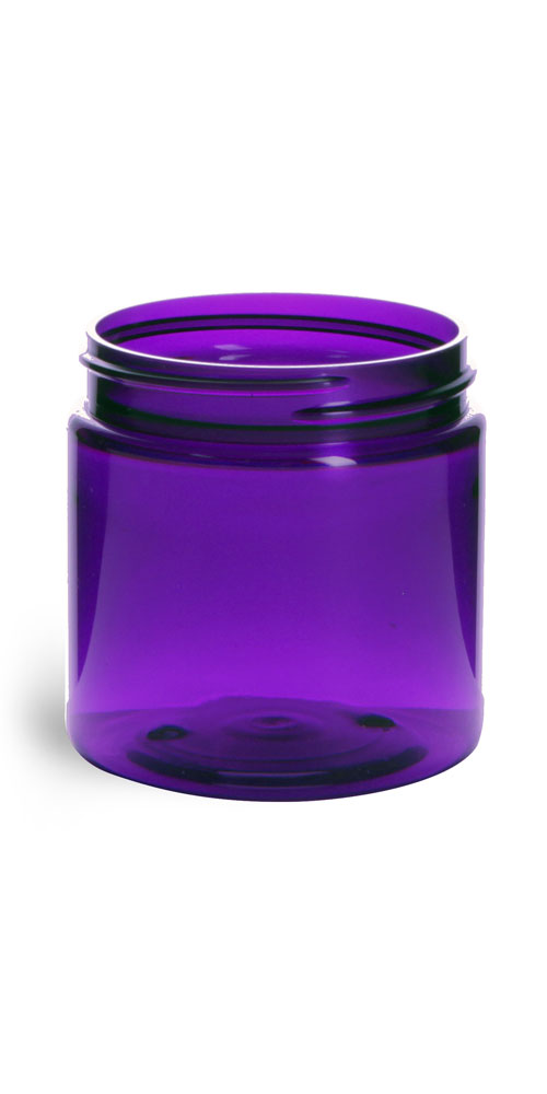 4 oz Plastic Jars, Purple PET Straight Sided Jars (BULK) Caps Not Included