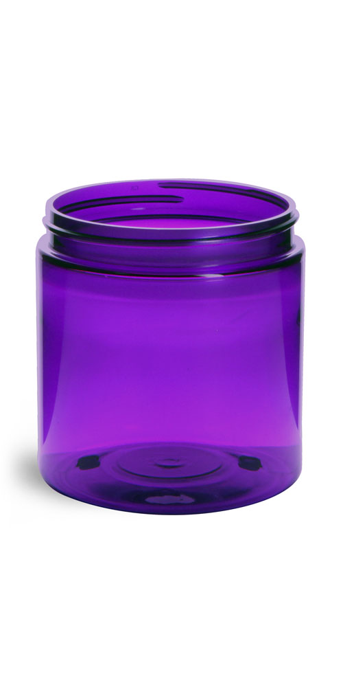 8 oz Plastic Jars, Purple PET Straight Sided Jars (BULK) Caps Not Included