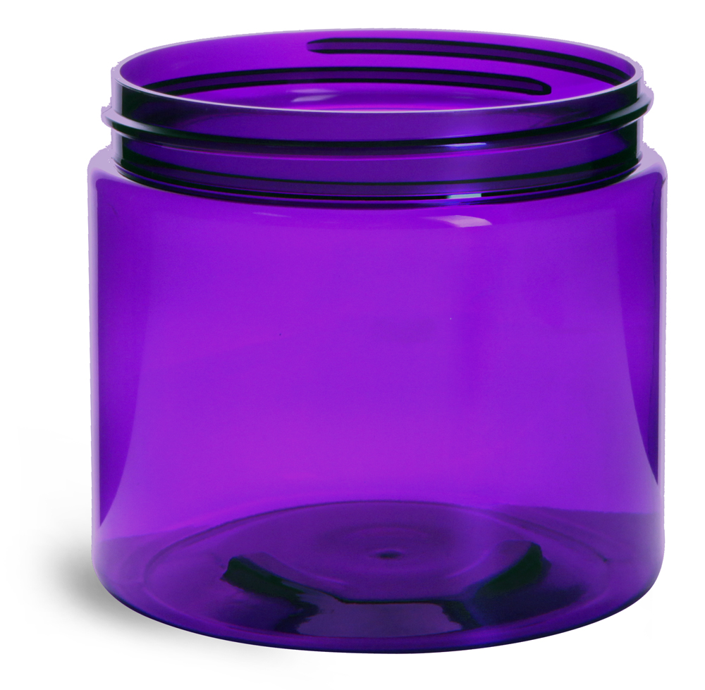 16 oz Purple PET Straight Sided Jars (BULK) Caps Not Included