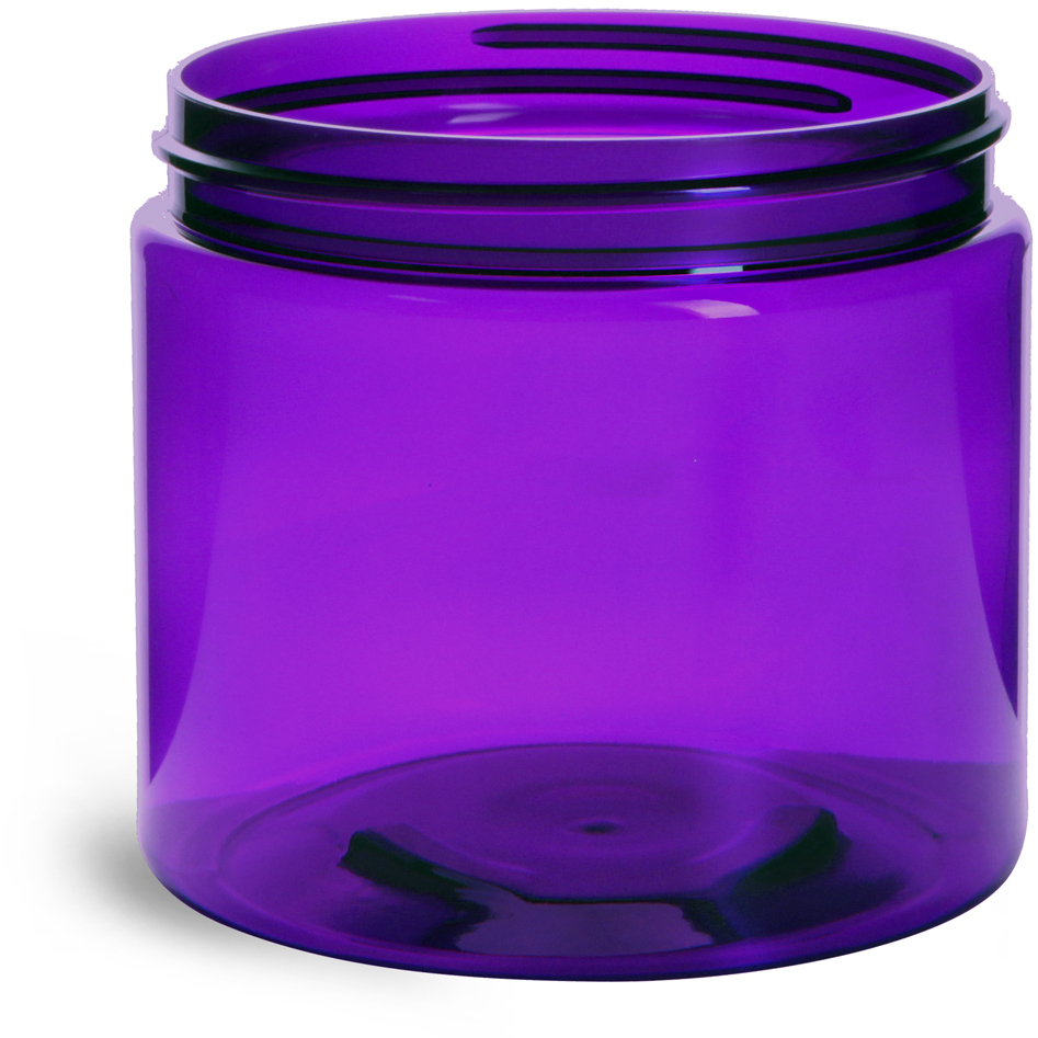 Purple PET Straight Sided Jars (BULK) Caps Not Included