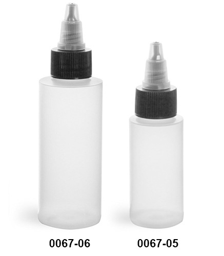 Plastic Bottles, Natural LDPE Cylinder Bottles w/ Black/Natural Induction Lined Twist Top Caps