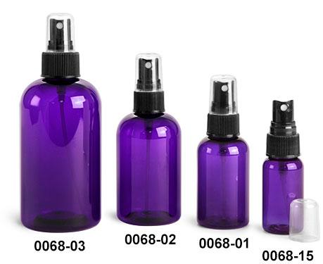 Plastic Bottles, Purple PET Boston Round Bottles w/ Black Fine Mist Sprayers