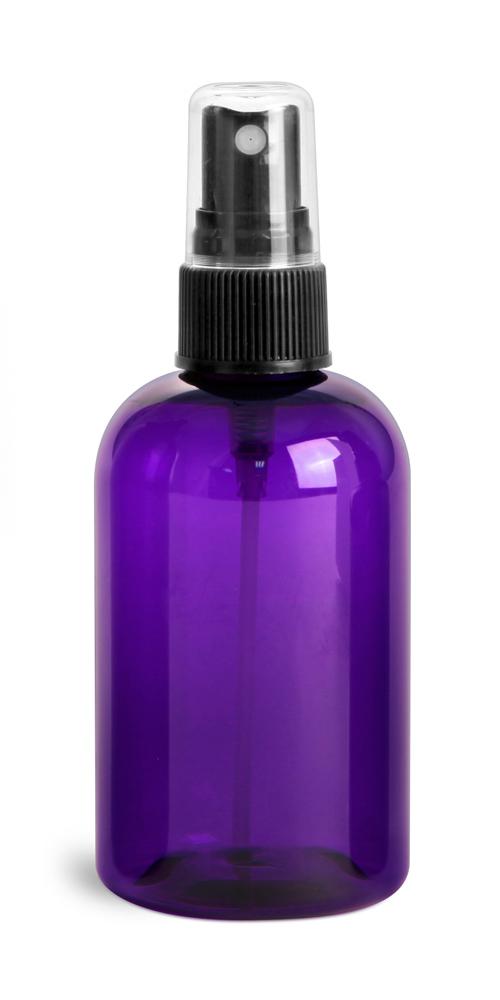 4 oz Purple PET Round Bottles w/ Black Fine Mist Sprayers