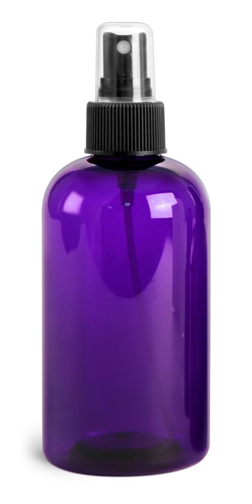 8 oz Purple PET Round Bottles w/ Black Fine Mist Sprayers