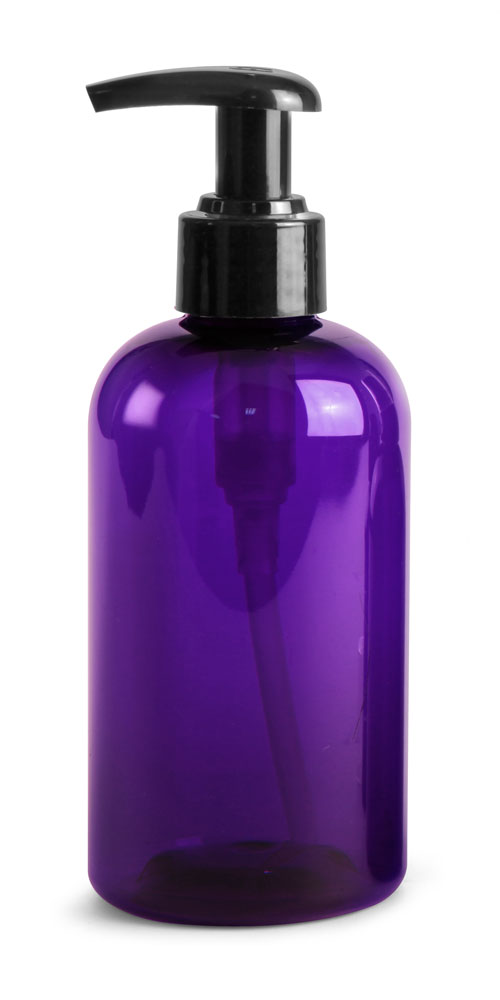 8 oz Purple PET Boston Rounds w/ Black  Lotion Pumps